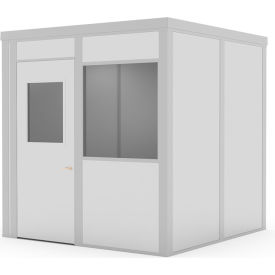 global industrial™ class c, 8x8, 4 wall, 1 window, lt. oak color wood grain door, gray walls Global Industrial™ Modular Implant Office W/1 Window, Class C, 8Wx8D, Gray