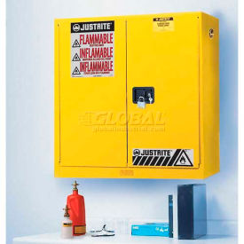 "8917008 Justrite 17 Gallon 2 Door, Manual, Wall Mount, Flammable Cabinet, 43""W x 18""D x 24""H, Yellow"