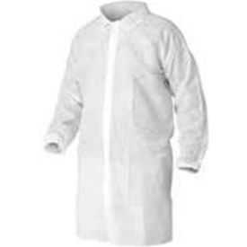 LC0-WE-NW-HD-LG HD Polypropylene Lab Coat, No Pockets, Elastic Wrists, Snap Front, Single Collar, White, L, 30/Case