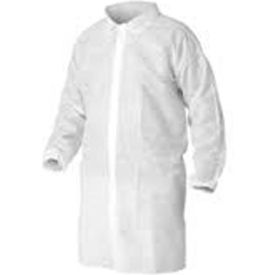 polypropylene lab coat, no pockets, elastic wrists, snap front, single collar, white, l, 30/case Polypropylene Lab Coat, No Pockets, Elastic Wrists, Snap Front, Single Collar, White, L, 30/Case