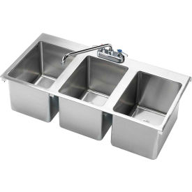 "HS-3819 Krowne HS-3819 - 36"" x 18"" Three Compartment Drop-In Hand Sink"