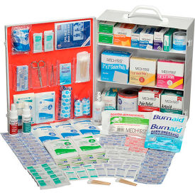 GEQU745ANSISK Global Industrial First Aid Kit - 3 Shelf Steel Cabinet, ANSI Compliant, 75-100 Person