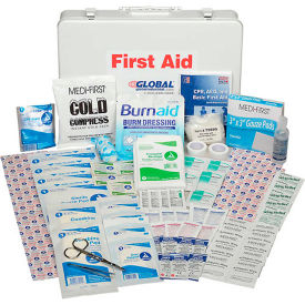 GF807ANSI Global Industrial First Aid Kit - 50 Person, ANSI Compliant, Metal Gasketed Case