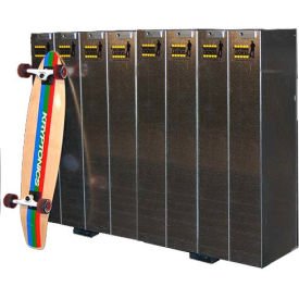 single-sided longboard lockers, holds 8 longboards/scooters Single-Sided Longboard Lockers, Holds 8 Longboards/Scooters