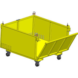 "m&w heavy duty steel vented container with drop side & casters 48"" x 48"" x 24"" - 2500 lb. capacity M&W Heavy Duty Steel Vented Container with Drop Side & Casters 48"" x 48"" x 24"" - 2500 Lb. Capacity"