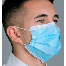 MK-1246 Defend; MK-1246 Breathe E-Z Dual Fit Ear-Loop Face Mask, Pleated, Blue, 50/Box