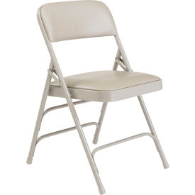 1302 National Public Seating Vinyl Folding Chair - Triple Brace - Gray Vinyl/Gray Frame
