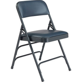 1304 National Public Seating Vinyl Folding Chair - Triple Brace - Blue Vinyl/Blue Frame