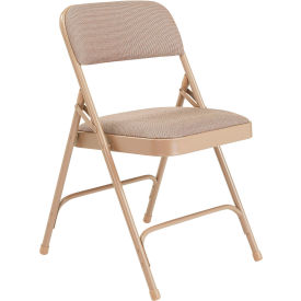 "2201 National Public Seating Steel Folding Chair - 1-1/4"" Fabric Seat - Double Brace - Beige"