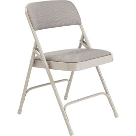 "2202 National Public Seating Steel Folding Chair - 1-1/4"" Fabric Seat - Double Brace - Gray"