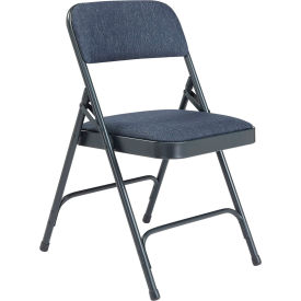 "2204 National Public Seating Steel Folding Chair - 1-1/4"" Fabric Seat - Double Brace - Blue"