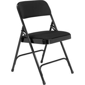 "2210 National Public Seating Steel Folding Chair - 1-1/4"" Fabric Seat - Double Brace - Black"