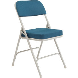 "3215 National Public Seating Steel Folding Chair - 2"" Fabric Seat - Double Brace - Blue"