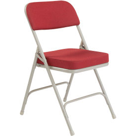 "3218 National Public Seating Steel Folding Chair - 2"" Fabric Seat - Double Brace - Burgundy"