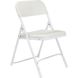 821 National Public Seating Plastic Folding Chair - White Seat/White Frame
