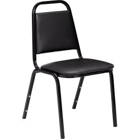 "nps stacking chair - 1-1/2"" vinyl seat - square back - black seat with black frame"