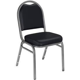 "nps banquet stacking chair - 2"" vinyl seat - dome back - black seat with silver frame NPS Banquet Stacking Chair - 2"" Vinyl Seat - Dome Back - Black Seat with Silver Frame"