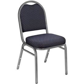 "nps stacking chair - 2"" fabric seat - dome back - navy seat with silver frame NPS Stacking Chair - 2"" Fabric Seat - Dome Back - Navy Seat with Silver Frame"