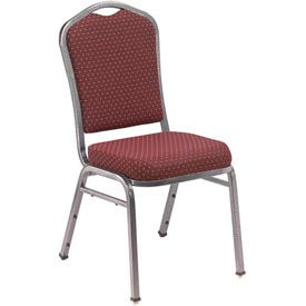 "nps stacking chair - 2"" fabric seat - silhouette back - burgundy seat with silver frame NPS Stacking Chair - 2"" Fabric Seat - Silhouette Back - Burgundy Seat with Silver Frame"