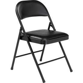 950 Steel Folding Chair with Padded Vinyl - Black