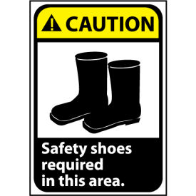 CGA9RB Caution Sign 14x10 Rigid Plastic - Safety Shoes Required