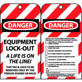 LOTAG27 Lockout Tags - Equipment Lock-Out A Life Is On The Line