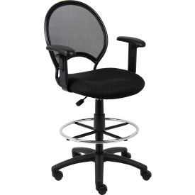 B16216 Boss Mesh Drafting Stool with Adjustable Armrest - Fabric - Black