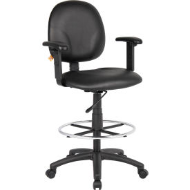 O-I1691-CS  Drafting Stool with Arms and Footring - Vinyl - Black