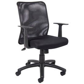 O-I6106 Mesh Task Chair with Arms - Fabric - Mid Back - Black
