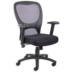 O-I6508 Mesh Task Chair with Arms - Fabric - High Back - Black
