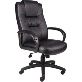 B7501 Boss Executive Office Chair with Arms - Leather - High Back - Black