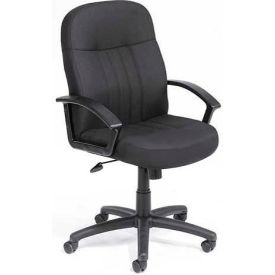 B8306-BK Boss Managers Office Chair with Arms - Fabric - Mid Back - Black