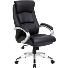 B8981-BK Boss Executive Office Chair with Arms - Leather - High Back - Black