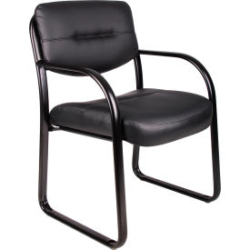 O-I9529-LF Waiting Room Chair with Arms - Leather - Black