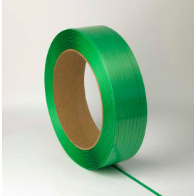 "5835146G40W Waxed Polyester Strapping 5/8"" x .035"" x 4,000 Green 16"" x 6"" Core"