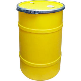 us roto molding 20 gallon plastic drum ss-oh-20 - open head with bung cover - bolt ring - yellow US Roto Molding 20 Gallon Plastic Drum SS-OH-20 - Open Head with Bung Cover - Bolt Ring - Yellow