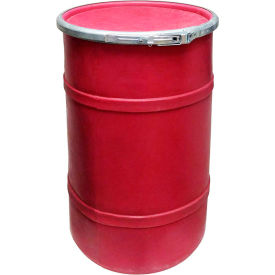us roto molding 20 gallon plastic drum ss-oh-20 - open head with plain lid - lever lock - red US Roto Molding 20 Gallon Plastic Drum SS-OH-20 - Open Head with Plain Lid - Lever Lock - Red