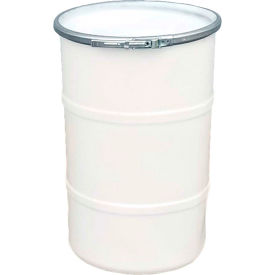 us roto molding 35 gallon plastic drum ss-oh-35 - open head with plain lid - lever lock - natural US Roto Molding 35 Gallon Plastic Drum SS-OH-35 - Open Head with Plain Lid - Lever Lock - Natural