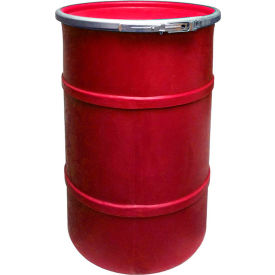 us roto molding 35 gallon plastic drum ss-oh-35 - open head with plain lid - lever lock - red US Roto Molding 35 Gallon Plastic Drum SS-OH-35 - Open Head with Plain Lid - Lever Lock - Red