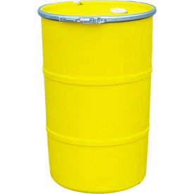 us roto molding 55 gallon plastic drum ss-oh-55 - open head with bung cover - lever lock - yellow US Roto Molding 55 Gallon Plastic Drum SS-OH-55 - Open Head with Bung Cover - Lever Lock - Yellow