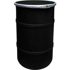 us roto molding 55 gallon plastic drum ss-oh-55 - open head with plain lid - bolt ring - black US Roto Molding 55 Gallon Plastic Drum SS-OH-55 - Open Head with Plain Lid - Bolt Ring - Black