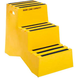 "ST-3 YEL 3 Step Plastic Step Stand - Yellow 20""W x 33-1/2""D x 28-1/2""H - ST-3 YEL"