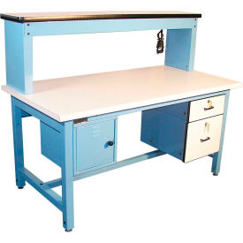 "pro-line bib12 bench-in-a-box technical workbench - 60""w x 30""d esd laminate top - blue Pro-Line BIB12 Bench-In-A-Box Technical Workbench - 60""W x 30""D ESD Laminate Top - Blue"