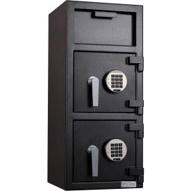 "Protex FDD-3214 II Narrow Body Dual Door Depository Safe With Electronic Lock  14"" x 14"" x 32"" Gray"