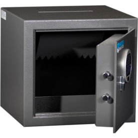 "Protex Burglary Safe with a Drop Slot & Electronic Lock HD-34C 14-1/8"" x 12-3/4"" x 13"" Gray"