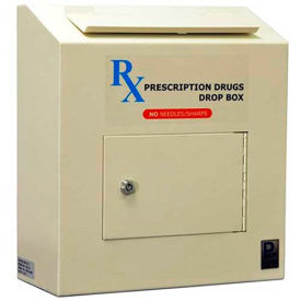 "RX-164 Protex Prescription Drop Box RX-164 - 6-5/8""W x 14-1/8""D x 15-3/4""H, Beige"