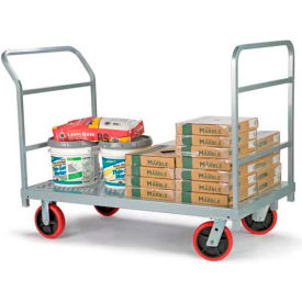 "3967 Raymond Products 3967 HD Platform Truck 8"" Quiet Poly Casters, 2 Fixed & Swivel- 1 Push & End Handle"