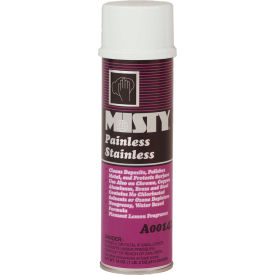 1001557 Misty Painless Stainless Steel Cleaner, 18 oz. Aerosol Can, 12 Cans - 1001557