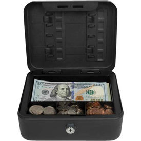 "royal sovereign compact cash box rscb-100, 4-compartment, 7-7/8""w x 6-1/2""d x 3-1/2""h black Royal Sovereign Compact Cash Box RSCB-100, 4-Compartment, 7-7/8""W x 6-1/2""D x 3-1/2""H Black"
