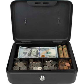 "royal sovereign full-size cash box rscb-200, 6-compartment, tray, 9-13/16""wx7-3/8""d x 3-7/8""h black Royal Sovereign Full-Size Cash Box RSCB-200, 6-Compartment, Tray, 9-13/16""Wx7-3/8""D x 3-7/8""H Black"